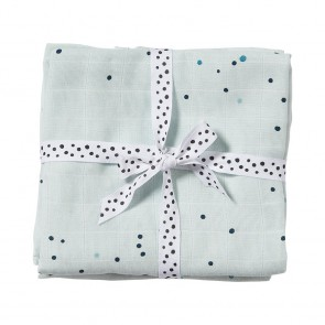 Done by Deer - Mulltuch 2-er Pack - Dreamy dots, blau