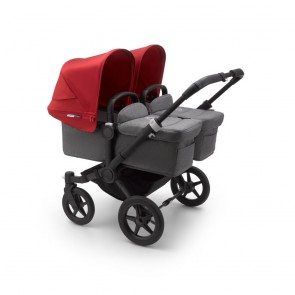 Bugaboo - Zwillingswagen Donkey 3 Twin BLACK/GREY MELANGE-RED