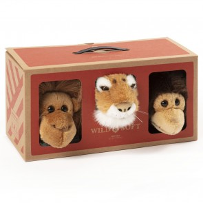 Wild & Soft - Plüsch Tierkopf-Trophäe, Jungle box, 3-er Set